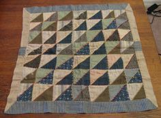 Antique Early American Doll Quilt Blanket Primitive 19th Century    23  x  24.       ...~♥~