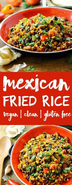 Easy Mexican Fried Brown Rice is one of my favorite recipes. Cheap, healthy and delicious! Quick to make, vegan and gluten free.