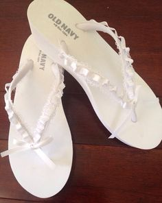 4f4259320b6a7d White Wedge Bridal Flip Flops with Lace