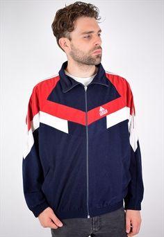 best sneakers 5027b 2815b Adidas+Mens+Vintage+Tracksuit+Top+Jacket+Large+Blue+