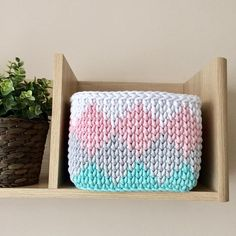Hand made crochet basket from cotton cord. They go fantastic with any sort of interior in the bedroom, hallway or even the bathroom. You can store your make up brushes, childrens knickknacks or even use it as a decorative plant pot. They will look amazing in any home and add a touch of