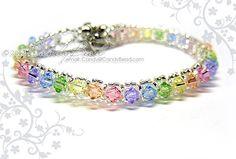 Swarovski Crystal Bracelet Sweet rainbow single row by candybead