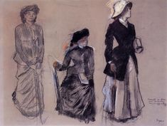 Project for Portraits in a Frieze - Three Women by Edgar Degas