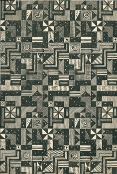 Fabric design drawing by Josef Hoffmann for Wiener Werkstätte, 1928