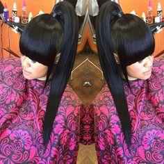 Slight work #HairByTiffinyRay Bangs Ponytail, Black Ponytail Hairstyles, Cute Ponytails, Ponytail Styles, Hairstyles With Bangs, Weave Hairstyles, Girl Hairstyles, Curly Hair Styles, Easy Hairstyle
