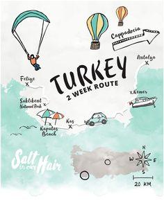 Turkey Route Guide #cappadocia #goreme #kas #fethiye #turkey #roadtrip #balloons #hotairballoon #beach #saklikent #route