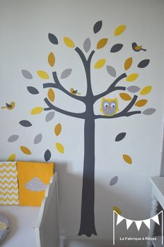 ON COMMAND - Owl tree and small bird decals - yellow gray white - deco . Yellow Tree, Grey Yellow, Monkey Room, Owl Tree, Owl Bird, Wishes For Baby, Kids Corner, Reno, Baby Room Decor