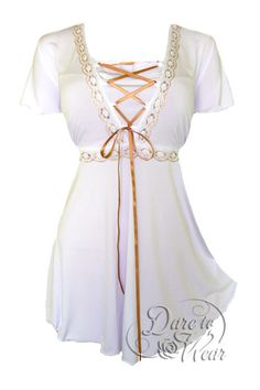 Dare To Wear Victorian Gothic Women's Plus Size Angel Corset Top White