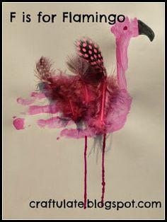 Craftulate: ABC Animal Handprints Flamingo