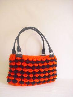 Halloween  color Crocheted Handbag afghan crochet by modelknitting, $49.00