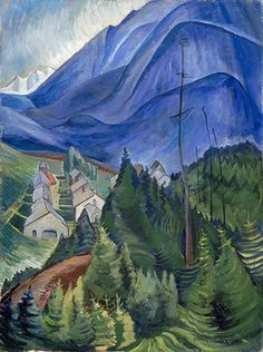 "Post Impressionism painting by Canadian artist Emily Carr ""Landscape"" - Cozyhuarique Tom Thomson, Canadian Painters, Canadian Artists, Emily Carr Paintings, Group Of Seven Paintings, Costa, Post Impressionism, Landscape Paintings, Abstract Landscape"