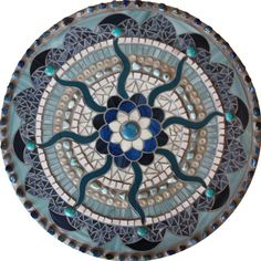 Mosaic Mandalas interpreted in stained glass, freshwater pearls, traditional glass smalti, glass beads, semi-precious stones and backpainted glass. Mosaic Stepping Stones, Stone Mosaic, Mosaic Glass, Stained Glass, Glass Art, Mosaic Garden, Mosaic Art, Mosaic Tiles, Free Mosaic Patterns
