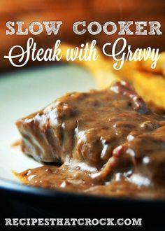 Slow Cooker Steak with Gravy #CrockPot #SlowCooker