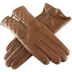 Tan Leather Quilted Gloves with Cashmere Lining