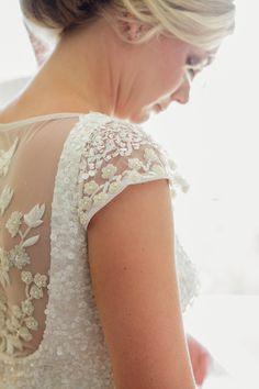 Pretty wedding gown details | Photography: Karen Buckle Photography - karenbuckle.com.au  Read More: http://www.stylemepretty.com/australia-weddings/2014/04/30/stylish-sunshine-coast-beach-wedding/