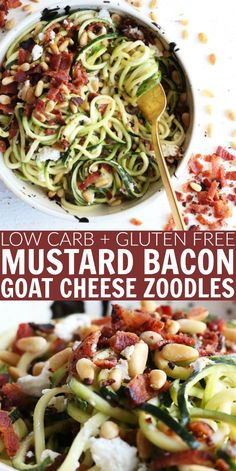 You'll love these low carb and gluten free Mustard Bacon Goat Cheese Zoodles!! Such quick and flavorful meal to whip up for an easy weeknight dish. thetoastedpinenut.com #thetoastedpinenut #zoodles #mustard #bacon #goatcheese #lowcarb #glutenfree #spiralizing #spiralizer #dinner #weeknightmeal #easydinner