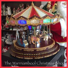 Marquee Deluxe Carousel plays 40 songs absolutely beautiful!!#shop3280 #stunning #carousel #carouselride #grandcarousel #carouselgeelongwaterfront #christmas #warrnambool #warrnambool3280 #warrnamboolchristmasshop by warrnambool_christmas_shop