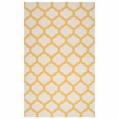 Flatweave wool rug with a Moroccan trellis motif. Handmade in India.   Product: RugConstruction Material: WoolColor: Golden yellow and whiteFeatures:  Made in IndiaHand-woven Note: Please be aware that actual colors may vary from those shown on your screen. Accent rugs may also not show the entire pattern that the corresponding area rugs have.Cleaning and Care: Blot stains