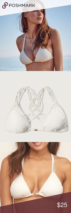 ✨NEW✨Abercrombie Strappy White Triangle Bikini Top Super flirty and cute macrame bikini top with strappy back! Perfect to wear for lounging poolside or wear to a music festival! ⭐️Reasonable offers will be considered No lowball offers please! No trades Bundle and save! Abercrombie & Fitch Swim Bikinis