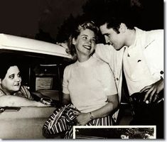 Elvis Presley with Yvonne Lime April 19, 1957 with Elvis' Mother, Gladys in the car.  Graceland