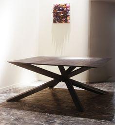 IMPERIA - Big  Square Table - available from140x140 cm. to 250 x 250 cm. - / - structure in Iron or StainlessSteel , table top in wood, cristal, methacrylate scratched, various metals IMPERIA - Big Tavolo quadrato - disponibile from140x140 cm. a 250 x 250 centimetri. - / - Struttura in ferro o acciaio inossidabile, piano in legno, cristallo, metacrilato graffiato, metalli vari / - /  design by Lauro Ghedini