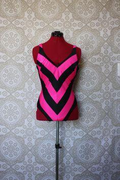 Vintage 1970's DeWeese Design Pink and Black Chevron Stripe Pinup Bathing Suit Swimsuit M/L