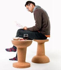 Pushpin Cork Chair/Table by Kenyon Yeh for COOIMA