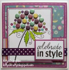 Made for & featured in Making Cards Magazine using Woodware Stamps & First Edition Papers. Sympathy Cards, Greeting Cards, Candy Stand, Dots Candy, Craftwork Cards, Candy Cards, Copics, Folded Cards, Craft Work