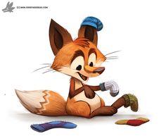 Day 836. Fox in Socks by Cryptid-Creations.deviantart.com on @DeviantArt
