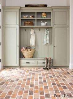brick flooring French Farmhouse mudroom with brick floors with French Grey cabinets Country Farmhouse Decor, Home, Mudroom Cabinets, Farmhouse Mudroom, House, French Country Kitchens, French Country Rug, Country Style Homes, Country House Decor