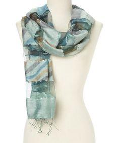 Look at this #zulilyfind! Turquoise & Peach Swirl Silk Scarf by Rising Tide #zulilyfinds