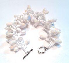 Elegant White Bracelet  White Beadwork Bracelet  by DuMoments