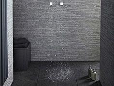 Stratum Anthracite wall tiles £34.50 per sq mtr (flooring is natural black slate at 17.50 per sq mtr)