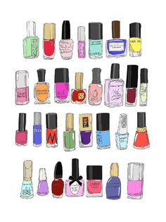 30 Nail Polishes... Mini Poster by emmakisstina on Etsy, kr300.00