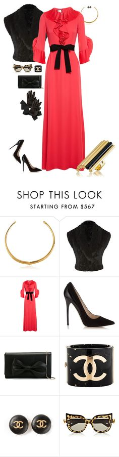 """""""Pretty in Gucci"""" by riquee ❤ liked on Polyvore featuring Aurélie Bidermann, Matthew Williamson, Gucci, Jimmy Choo, RED Valentino, Chanel, Reed Krakoff, Anna-Karin Karlsson, Louis Vuitton and women's clothing"""