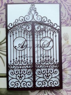 image of Laser Cut Wedding Invitation, Die Cut Monogram Iron Gate Bi Folding Pattern, Custom Luxury Invitation Laser Cut Invitation, Laser Cut Wedding Invitations, Unique Invitations, Wedding Stationary, Wedding Invitation Cards, Wedding Cards, Invitation Ideas, Invite, Invitations Disney