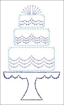 Wedding Cake Bride Paper Embroidery Pattern for Greeting by Darse, $1.50