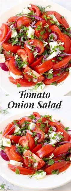 Tomato Recipes - Simple tomato onion salad recipe Mediterranean style with lots of fresh oregano, chives, capers and feta cheese, dressed in a lovely olive oil and red wine vinegar dressing! Tomato And Onion Salad, Cooking Recipes, Healthy Recipes, Pork Recipes, Summer Salads, Soup And Salad, Side Dishes, Veggies, Healthy Eating