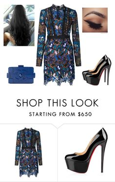 """Sem título #1242"" by gabriel-sampaiooo on Polyvore featuring self-portrait, Christian Louboutin e Chanel"
