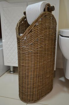 Toilet paper basket Spare Roll Holder Toilet Storage Toilet | Etsy Bathroom Baskets, Toilet Storage, Roll Holder, Paper Basket, Toilet Paper, Wicker, Cleaning, Mom, House