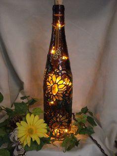 Sunflower Wine Bottle Lamp