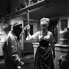 "Director Terence Fisher advising actress Susan Denberg in Hammer Films' ""Frankenstein Created Woman"" (1967)"