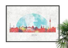 #Berlin Art #Germany Skyline Art Watercolor Print Berlin por Fybur