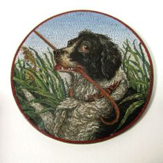Antique 19c Italian Micro Mosaic Miniature Plaque Dog Portrait w Walking Stick