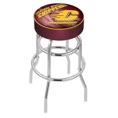 Chrome Central Michigan Chippewas Double-Ring Swivel Barstool