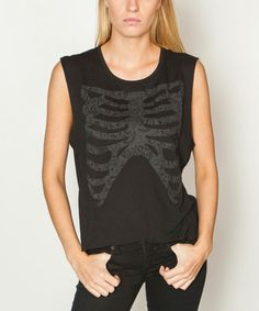 Another great find on #zulily! Black Rib Cage Sleeveless Tee #zulilyfinds
