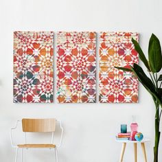 Moroccan Tile Triptych Wall Art - T&W Art Collection - T&W Art Collection