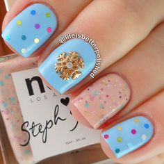 Lovely winter manicure with snowflake nail charm #nailart #manicure #nails #naildesign #manicureideas ===== Nail art supplies store:  https://www.etsy.com/shop/LaPalomaBoutique