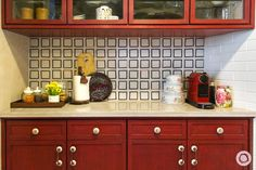 Red and white kitche