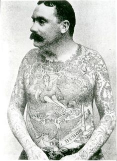 Frank de Burgh, the first tattooed attraction tattooed with the new, at the time, electric tattooing method, most likely by Samuel O'Reilly who invented the first electric tattoo machine.
